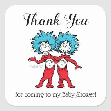 Thing 1 Thing 2 | Twins Baby Shower Thank You Square Sticker