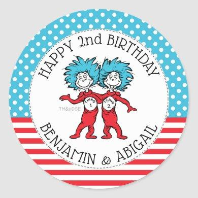 Thing 1 Thing 2 | Twins Birthday Classic Round Sticker