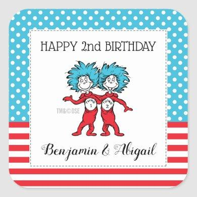 Thing 1 Thing 2 | Twins Birthday Square Sticker