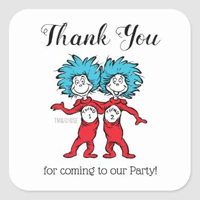 Thing 1 Thing 2 | Twins Birthday Thank You Square Sticker