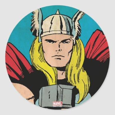 "Thor ""God of Thunder"" Comic Panel Classic Round Sticker"