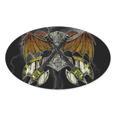 Thor Hammer of the Gods Guitars Oval Sticker