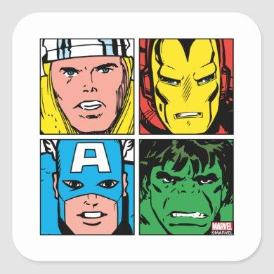 Thor, Iron Man, Captain America, Hulk Pattern Square Sticker