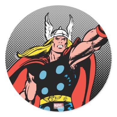 Thor Raising Mjolnir Classic Round Sticker