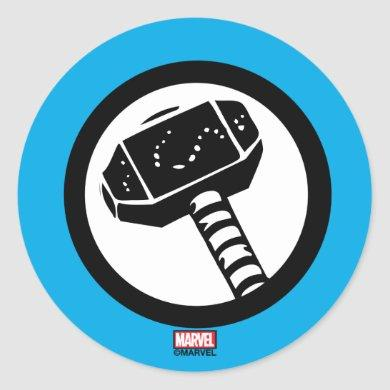 Thor Retro Hammer Icon Classic Round Sticker