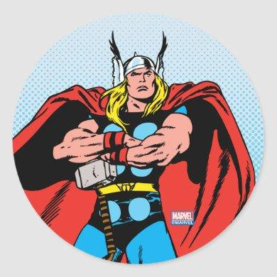 Thor With Arms Crossed Classic Round Sticker