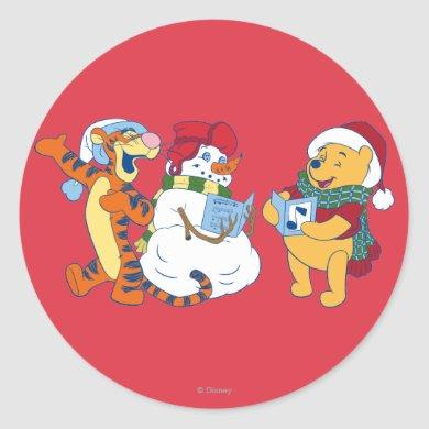 Tigger and Pooh Carolling Classic Round Sticker