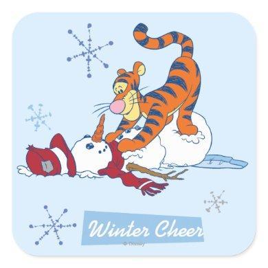 Tigger Winter Cheer Square Sticker