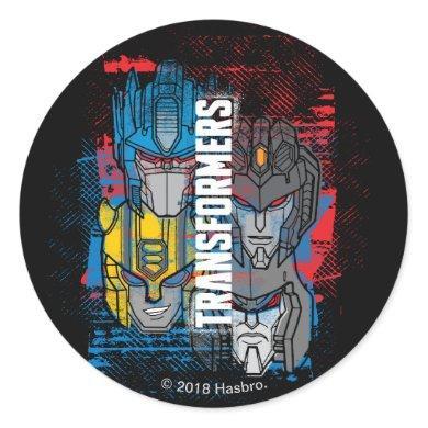 Transformers   Autobot & Decepticon Grunge Print Classic Round Sticker