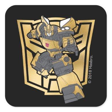 Transformers   Bumblebee Gold Autobot Symbol Square Sticker
