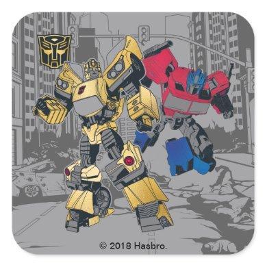 Transformers   Bumblebee & Optimus Prime In City Square Sticker