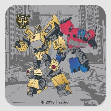 Transformers | Bumblebee & Optimus Prime In City Square Sticker