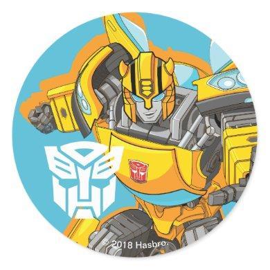 Transformers   Bumblebee Reach Pose Classic Round Sticker