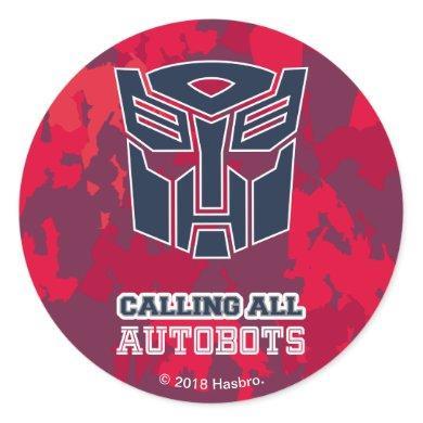 Transformers   Calling All Autobots Camo Classic Round Sticker