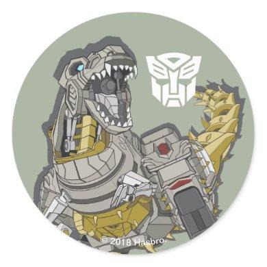 Transformers   Grimlock Roaring Pose Classic Round Sticker