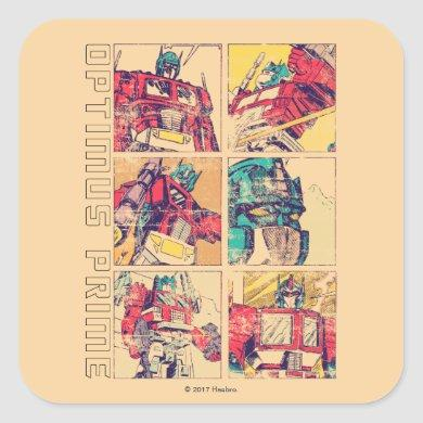 Transformers | Optimus Prime Comic Strip Square Sticker