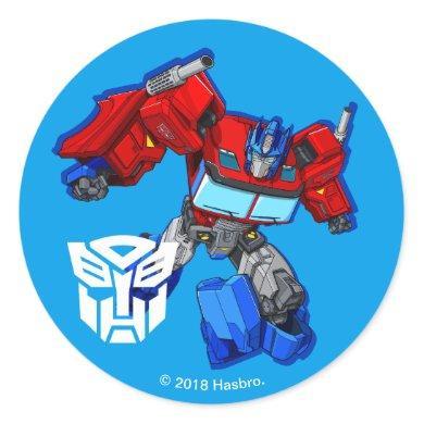 Transformers   Optimus Prime Running Pose Classic Round Sticker