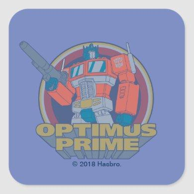 Transformers | Retro Optimus Prime Circle Graphic Square Sticker
