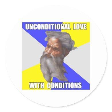 Troll God Unconditional Love Classic Round Sticker