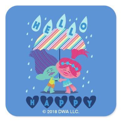 Trolls | Happy Rain Drops Square Sticker