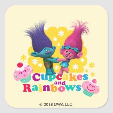 Trolls | Poppy & Branch - Cupcakes and Rainbows Square Sticker