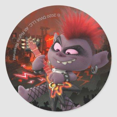 Trolls World Tour | Barb Shredding On Her Guitar Classic Round Sticker