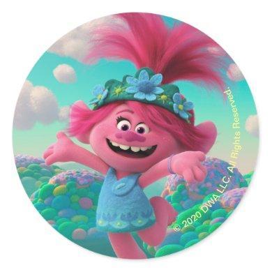 Trolls World Tour | Poppy Jumping for Joy Classic Round Sticker