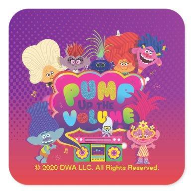 "Trolls World Tour | ""Pump Up The Volume"" Boombox Square Sticker"