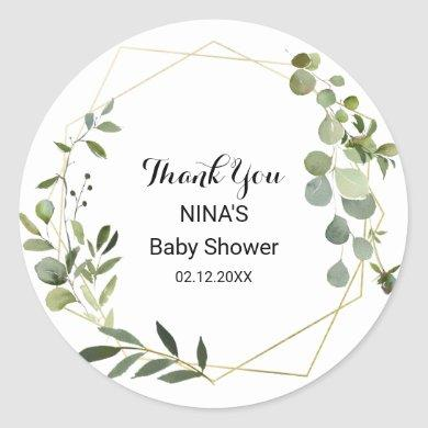Tropical Green Leaves Baby Shower Thank you Classic Round Sticker