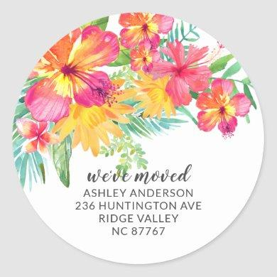 Tropical Hibiscus Floral New Address Label Sticker