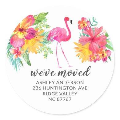 Tropical Hibiscus Pink Flamingo New Address Label