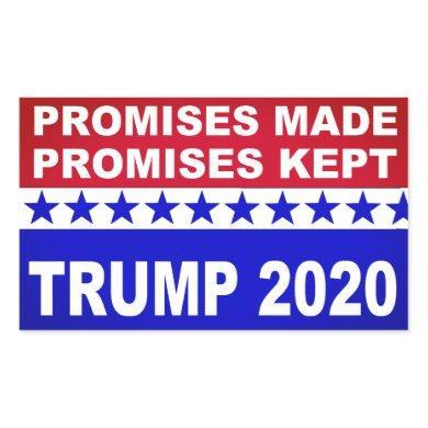 Trump 2020 Promises Kept popular Rectangular Sticker