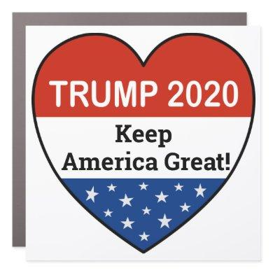 Trump 2020 USA Heart Keep America Great Car Magnet