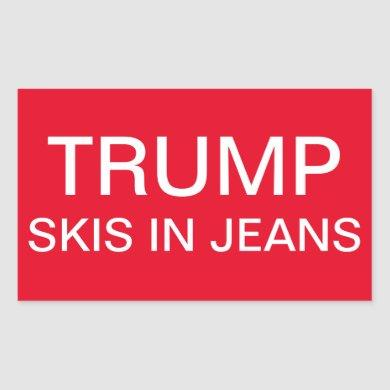 Trump Skis in Jeans Rectangular Sticker