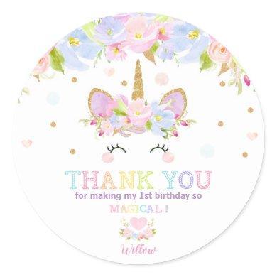 Unicorn 1st Birthday Thank You Favor Sticker Label
