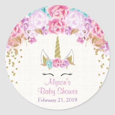 Unicorn baby shower stickers, pink and gold classic round sticker