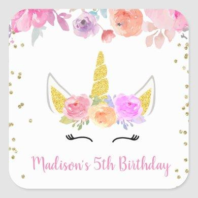 Unicorn Birthday Stickers Labels