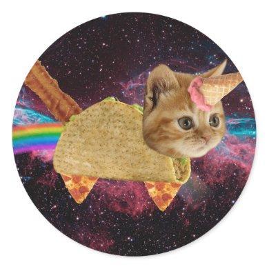 Unicorn cat - taco cat - space cat - tabby cat classic round sticker