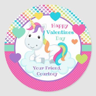 Unicorn Classroom Valentines Day Sticker