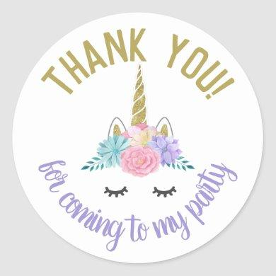 Unicorn Face Birthday Stickers Round Labels