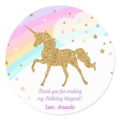 Unicorn Favor Sticker , Pink & Gold Sticker