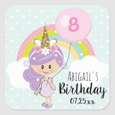 Unicorn Girl Birthday Party Thank You Square Sticker