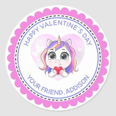Unicorn Heart Cute Personalized Valentine Classic Round Sticker