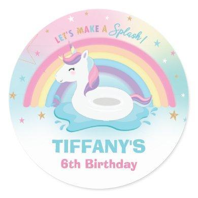 Unicorn Pool Birthday Party Rainbow Unicorn Classic Round Sticker