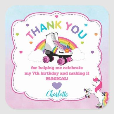 Unicorn Stickers Roller Skating Party Favors Label