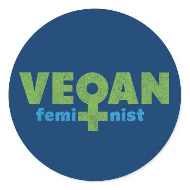 Vegan Feminist Classic Round Sticker