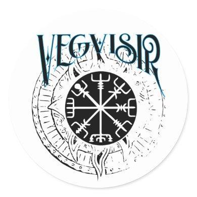 vegvisir nordic pathfinder compass classic round sticker