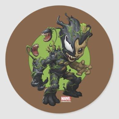 Venomized Baby Groot Classic Round Sticker