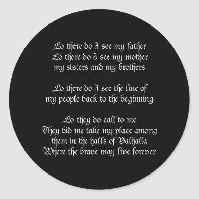 Viking Prayer Black Classic Round Sticker