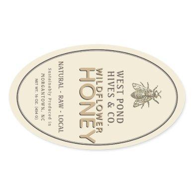 Vintage Bee 16 oz Queenline Jar Honey Label